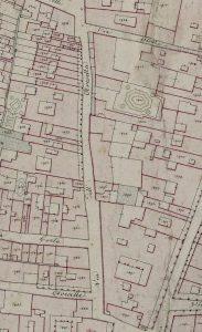 """Particolare tratto dal Catasto Gregoriano (1835) della città di Bologna, messo a disposizione dall'Archivio di Stato di Roma con il progetto """"Imago II"""""""