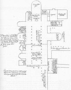 """Immagine tratta dagli schizzi topografici disegnati da Giuseppe Guidicini a corredo delle note manoscritte delle """"Cose Notabili ..."""" e pubblicati per la prima volta da Arnaldo Forni nel 2000."""
