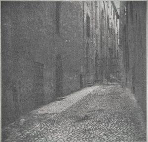 Immagine tratta dal libro di Angelo Finelli Bologna nel Mille - Identificazione della cerchia che le appartenne a quel tempo, edito a Bologna dagli Stabilimenti Tipografici Riuniti nel 1927.