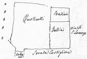 (Nord verso sinistra). In basso a sinistra è indicato il Voltone del Serraglio di Santa Lucia o Torresotto di Castiglione, porta della seconda cinta di mura. La casa Fellini è l'antico numero 395 (attuale via Castiglione 40). La proprietà Rusticelli (o Rustighelli come è indicato nel testo di Guidicini) è l'antico numero 311, attuale via Cartoleria 46.