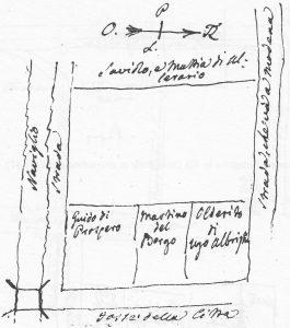 (Il Nord è verso destra) Terreno compreso tra la Grada e porta San felice con i terreni acquistati dalle monache cistercensi ne 1251, che poi si trasferirono in Strada Castiglione nel 1357.