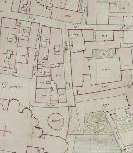 """Particolare tratto dal Catasto Gregoriano (1835) della città di Bologna, messo a disposizione dall'Archivio di Stato di Roma con il progetto """"Imago II""""."""