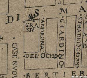 Dalla pianta del Mitelli: Androna delle Oche.