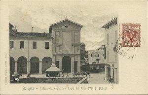 Oratorio di San Sebastiano. Dietro si vede l'edificio dei Bagni del Reno.